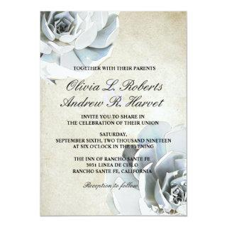 Elegant Silver Gray Blue Succulent Vintage Wedding Invitation