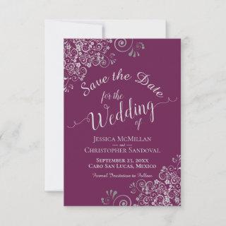 Elegant Silver Gray Lace Cassis Purple Wedding Save The Date