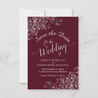 Elegant Silver Gray Lace Frills Burgundy Wedding Save The Date