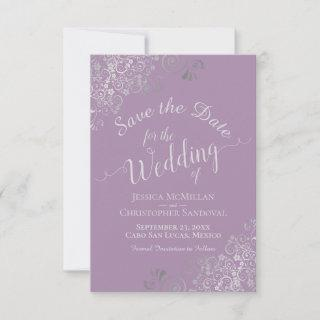 Elegant Silver Gray Lace Lavender Wedding Save The Date