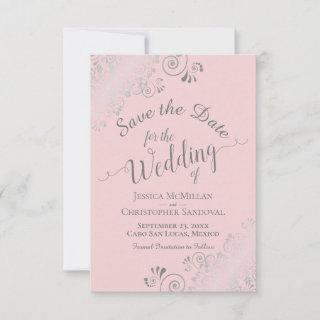 Elegant Silver Gray Lace on Blush Pink Wedding Save The Date
