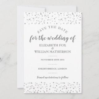 Elegant Silver Hearts Wedding Save the Date Card