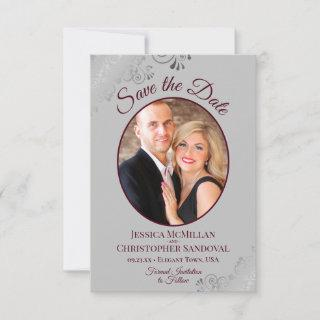 Elegant Silver Lace Burgundy on Gray Photo Wedding Save The Date