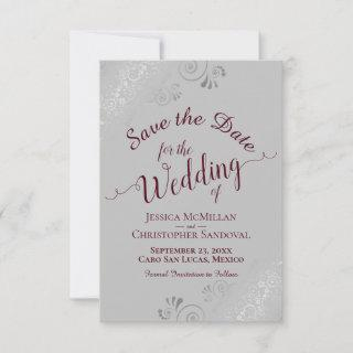Elegant Silver Lace Burgundy on Gray Wedding Save The Date