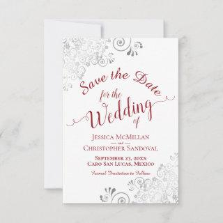 Elegant Silver Lace Filigree Red on White Wedding Save The Date