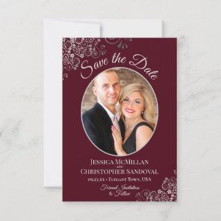 Elegant Silver Lace & Photo on Burgundy Wedding Save The Date