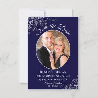 Elegant Silver Lace & Photo on Navy Blue Wedding Save The Date