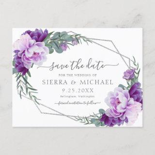 Elegant Silver Purple Floral Save the Date Wedding Announcement Postcard