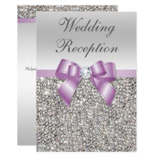 Elegant Silver Sequins Lilac Bow Wedding Reception Invitation