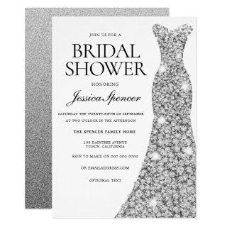 Elegant Silver Sparkle Dress Bridal Shower Invite
