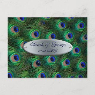 elegant silver teal peacock save the date announcement postcard