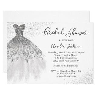 Elegant Silver White Wedding Gown Bridal Shower Invitations