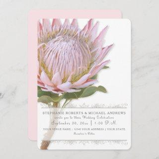 Elegant Simple Modern Floral Pink Protea Flower Invitation