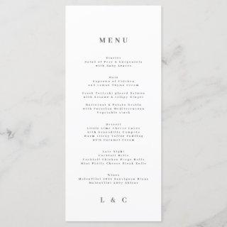 Elegant Simple White Monogram Wedding Menu