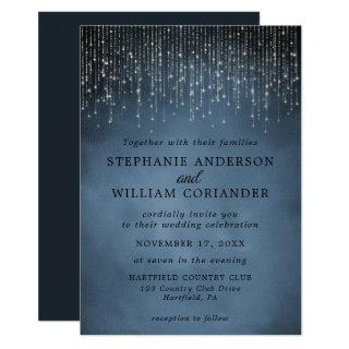 Elegant Sparkling String Lights Navy Blue Wedding Invitations