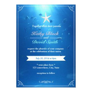 Elegant Starfish Ocean Blue Wedding Invitations