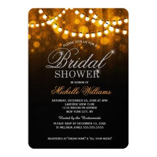 Elegant string lights gold bokeh bridal shower invitation