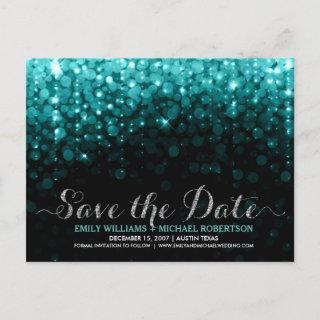 Elegant string lights turquois bokeh save the date announcement postcard