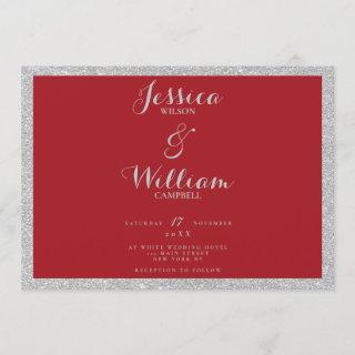 Elegant strong red silver glitter borders wedding invitation