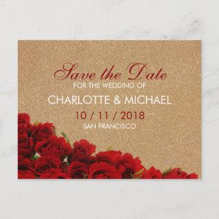 Elegant style red roses announcement postcard