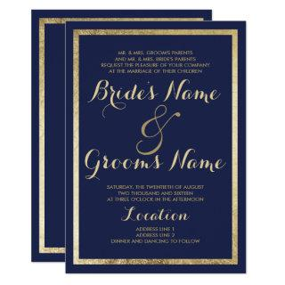 Elegant stylish modern blue faux gold Wedding Invitations