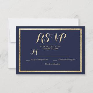 Elegant stylish modern navy blue faux gold RSVP