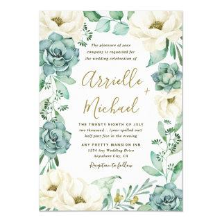 Elegant Succulent Watercolor Ivory Floral Wedding Invitations