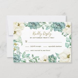 Elegant Succulent Watercolor Wedding RSVP Cards
