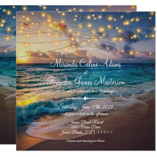 Elegant Summer Sunset Beach String Lights, Wedding Invitation