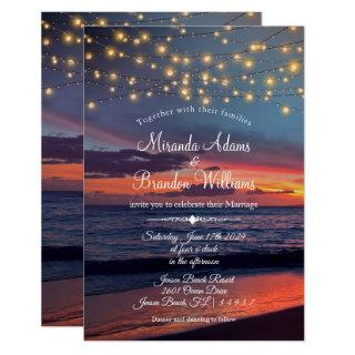 Elegant Sunset Beach String Lights Summer Wedding Invitations