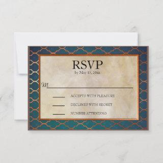 Elegant Teal and Copper Wedding RSVP