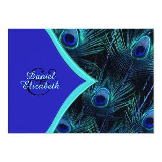Elegant Teal Blue and Royal Blue Peacock Wedding Invitations