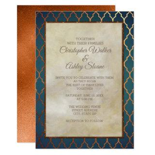 Elegant Teal Copper Wedding Invite