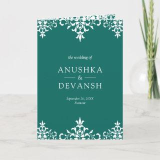 Elegant Teal Damask Traditional Indian Wedding Invitation