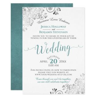 Elegant Teal on White Wedding Livestream Invitation