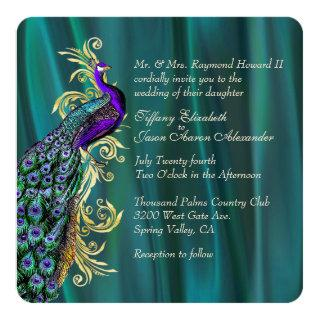 Elegant Teal Satin and Peacock Wedding Invitations