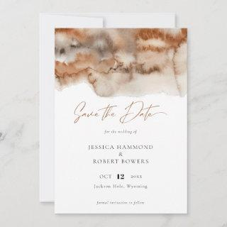 Elegant Terracotta Watercolor Calligraphy  Save The Date