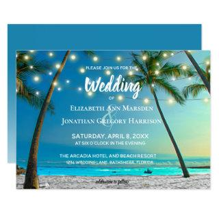 Elegant Tropical Beach String Lights Palms Ombre Invitations