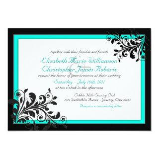 Elegant Turquoise|Black Wedding Invitation