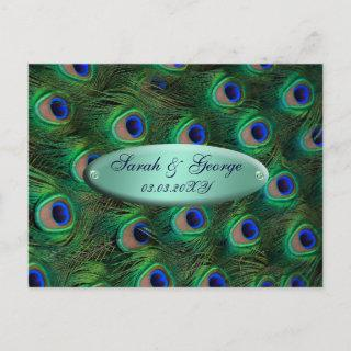 elegant turquoise peacock save the date announcement postcard