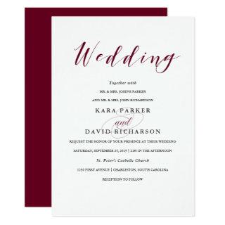 Elegant Typography | Marsala Wedding Invitations
