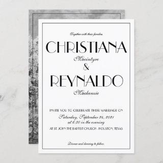 Elegant Typography Roaring 20s Photo Wedding Invitation
