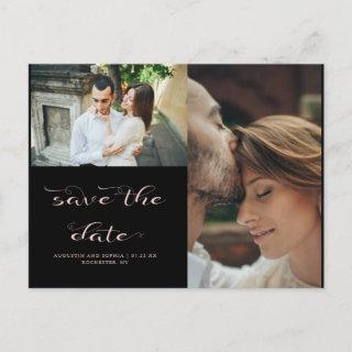 Elegant Typography Two Photo Wedding Save the Date Announcement Postcard