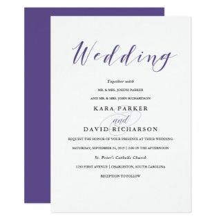 Elegant Typography | Violet Wedding Invitations