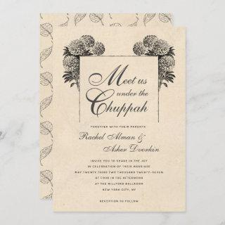 Elegant Under the Chuppah Vintage Jewish Wedding Invitation