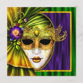 Elegant Venetian Mask Mardi Gras Wedding Invitations