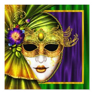 Elegant Venetian Mask Mardi Gras Wedding Invitation