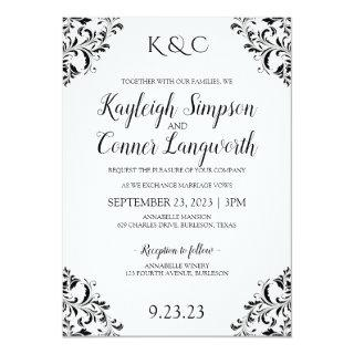 Elegant Vintage Corners Wedding Invitations | Black