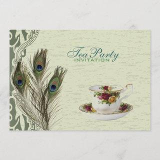 elegant vintage country green peacock tea party Invitations