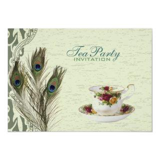 elegant vintage country green peacock tea party invitation